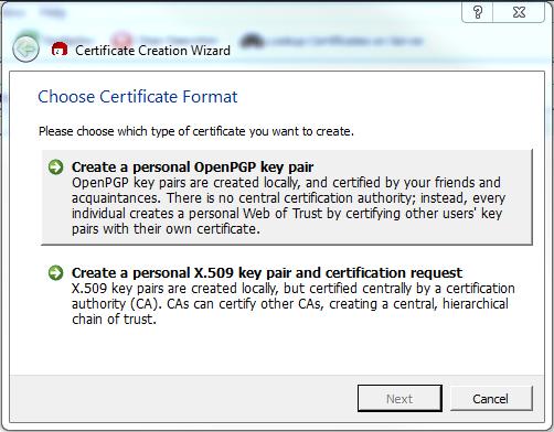 Origin Development & IT - Create Certificate with Kleopatra