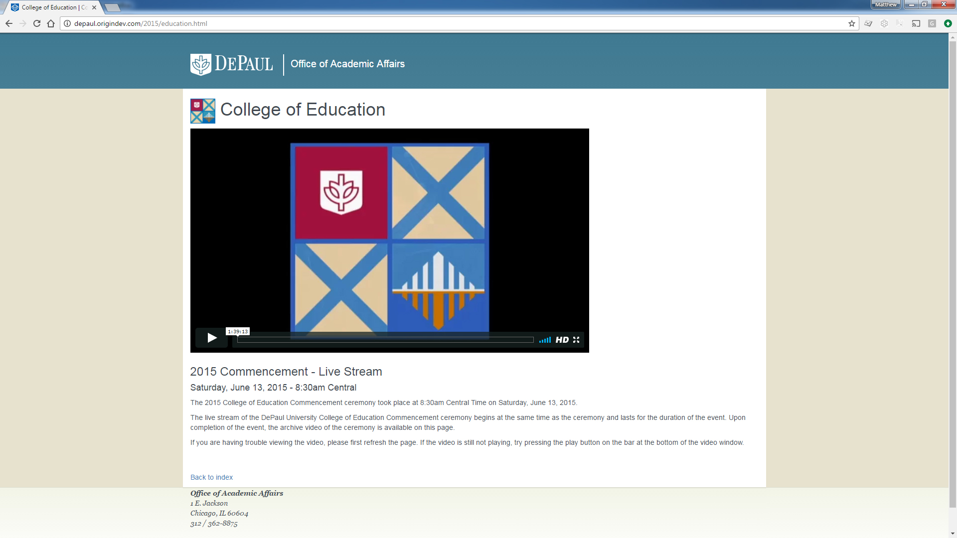 Commencement Ceremony Webcast
